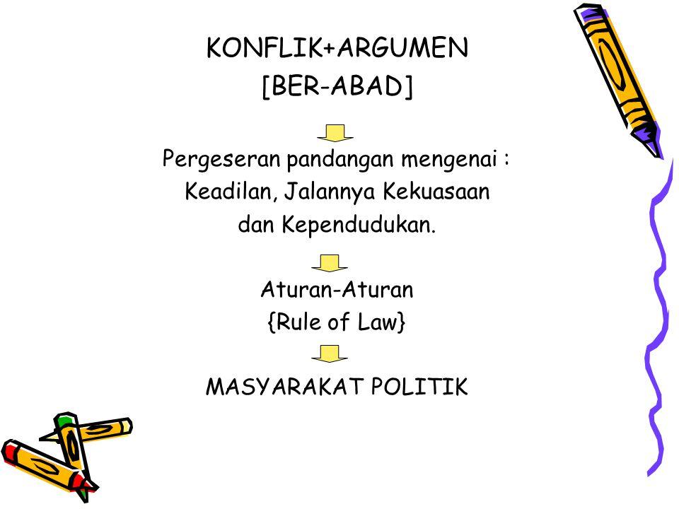 KONFLIK+ARGUMEN [BER-ABAD] Pergeseran pandangan mengenai :
